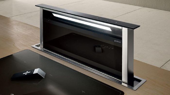 Elica Down Draft Extractor AND-GME-90-BLK - Black Glass / Stainless Steel Image 1