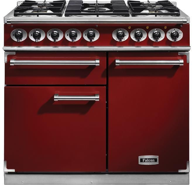 Falcon Range Cooker Dual Fuel F1000DXDFRD-NM - Cherry Red / Nickle Image 1