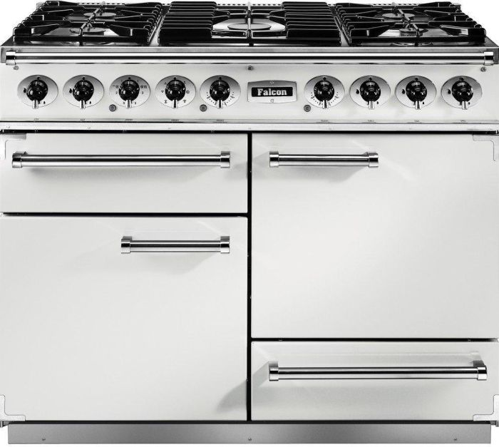 Falcon Range Cooker Dual Fuel F1092DXDFWH-NM - White / Nickel Image 1
