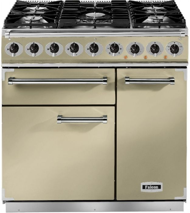 Falcon Range Cooker Dual Fuel F900DXDFCR-BM - Cream / Brass Image 1