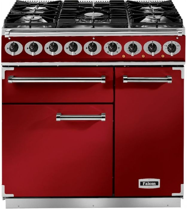 Falcon Range Cooker Dual Fuel F900DXDFRD-NM - Cherry Red / Nickle Image 1