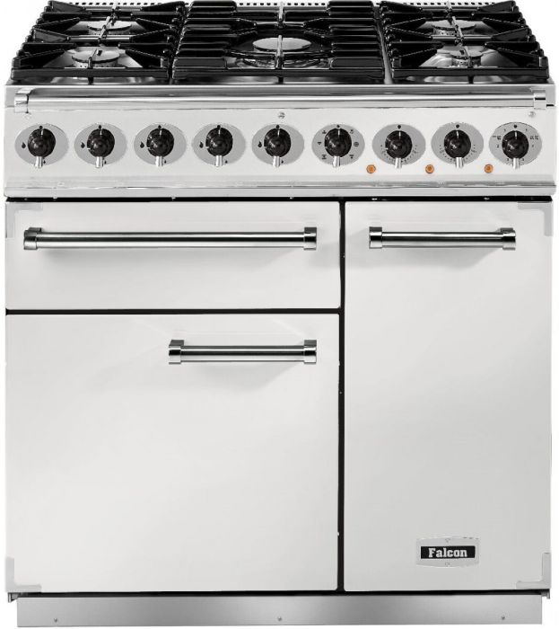 Falcon Range Cooker Dual Fuel F900DXDFWH-NM - White / Nickel Image 1