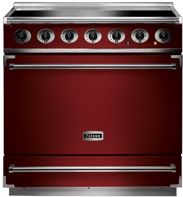 Falcon Range Cooker Induction F900SEIRD-N - Cherry Red / Nickle Image 1