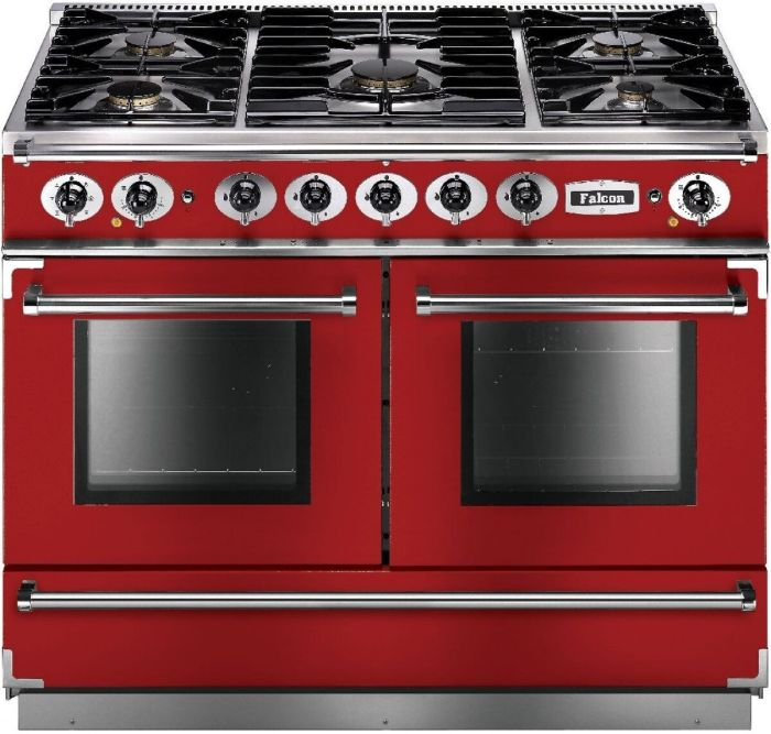 Falcon Range Cooker Dual Fuel FCON1092DFRD-NM - Cherry Red / Nickle Image 1