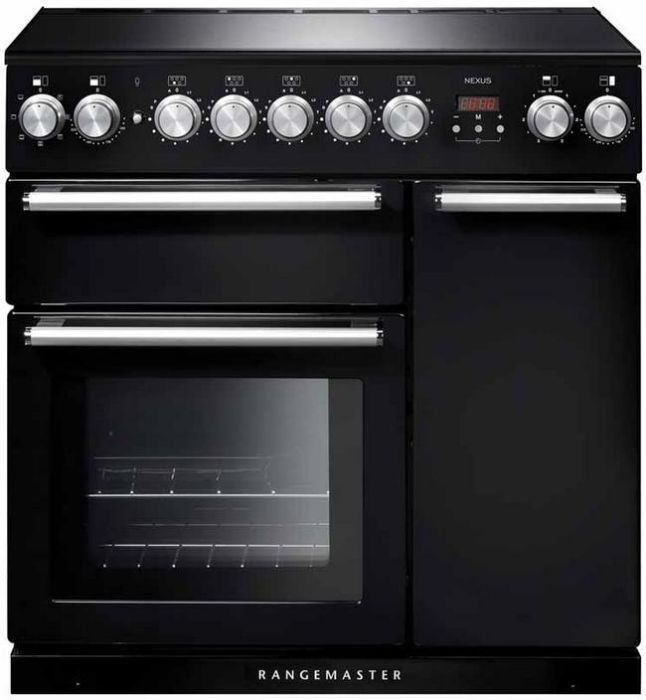 Rangemaster Range Cooker Induction NEX90EIBL-C - Black / Chrome Image 1