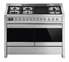 Smeg Range Cooker Dual Fuel A4-81 - Stainless Steel