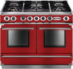 Falcon Range Cooker Dual Fuel FCON1092DFRD-NM - Cherry Red / Nickle