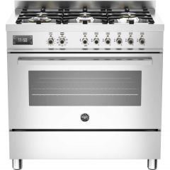 Bertazzoni Range Cooker Dual Fuel PRO90-6-MFE-S-XT - Stainless Steel